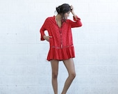 Valentines day BIG SALE Embroidered Tunic Dress , Red.