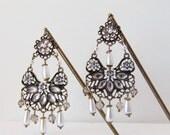 Antique Brass Hair Pins, Crystal & Pearl Chandelier Hair Pins, Antique Finish, Hair Picks, Dangle Hair Pins, Bridal Hair Accessories GRACE