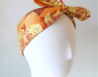 Tie up Headband, Dolly Bow, Head Wrap, Music Festival Headband, Floral Headscarf, Pin Up Headbands, Tie up Headscarf, Vintage Rose DROGHEDA