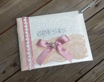 Wedding Guest Book, Blush ans Ivory Handmade Wedding Guest Book, Pink Guest Book, Sweet Sixteen Guest Book, Shabby Chic Guest Book