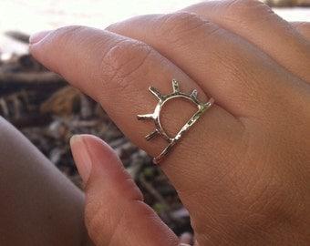 Gold Sun Ring, Sunrise, Sunset, Sunshine, Handmade Maui Hawaii Jewelry, Summer Fashion, Unique Christmas Gift Idea, Stocking Stuffer, Boho