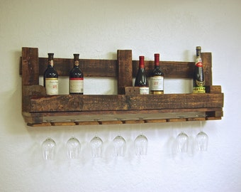 "48"" Reclaimed pallet Wine rack wood Caddy rustic kitchen farmhouse Oak Furniture Storage Shelving Shelves Shelf 12 bottle with glass holders"
