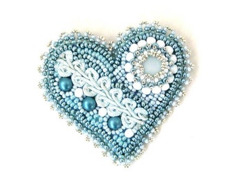Blue bead embroidered brooch, romantic beaded brooch pin, Unique gifts for her, Heart brooch pin