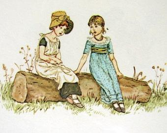 Kate Greenaway print - two children on a log - vintage book plate to frame - 1980s print - nursery home decor
