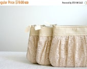 ON SALE 3 Bridesmaid lace clutch Ruched bags Pleated lace Pearl effect leather Choose your colour Romantic wedding