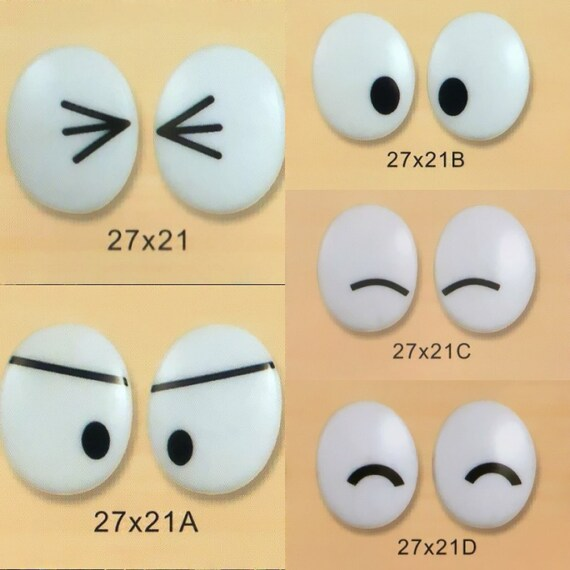 27mmx21mm Black and White Oval Comic Eyes / Safety Eyes / Printed Eyes - 5 Styles