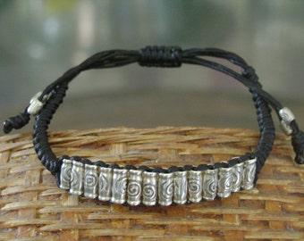 Waxed Cord Adjustable Silver Beaded Bracelet (10)