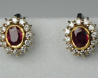 Estate 18kt Ruby & Diamond Cluster Studs