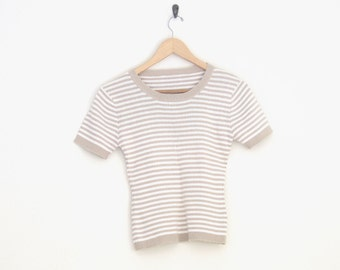 90s Crop Top. Striped Ribbed Shirt. Oatmeal and White Stripe. Stretchy Body Tight Shirt. Short Sleeves Shirt.