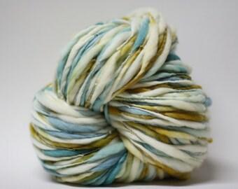 Thick and Thin Merino Handspun Wool Yarn Slub  tts(tm) Hand dyed Half-Pounder xLR 1504b