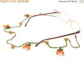 50% OFF Glasses Strap-Orange Crochet Eyeglasses Strap, Tulip Flower Crochet Glasses Chains, Bohemian Jewelry, Crystal Cord, Handmade