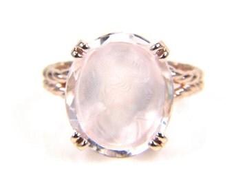 HUGESALE Morganite Ring -Morganite Engagement Ring - Morganite Engagement - Rose Gold Ring - Cameo Ring -Artisan Jewelry - Large Gemstone Ri
