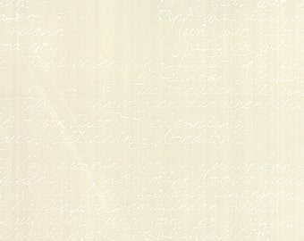 Modern Background Paper Handwriting White on Eggshell, Brigitte Heitland, Zen Chic, Moda Fabrics, 100% Cotton Fabric, 1580 18