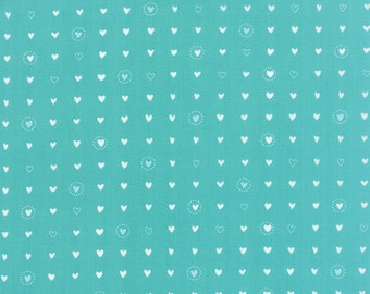Lil' Red Sweet Hearts in Turquoise, Stacy Iest Hsu, 100% Cotton, Moda Fabrics, 20506 14
