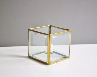 Vintage Brass and Beveled Glass Box or Terrarium