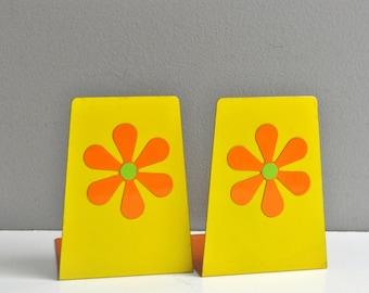 Vintage Pop Art Floral Bookends - Made in Japan