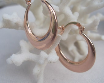 Rose Gold Crescent Smooth Hoop Earrings