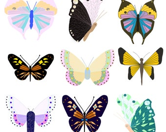 Butterfly Cliparts, Cute Unique Butterflies Clipart, Insects Images, Butterflies Digital Images, Commercial Use Butterfly Cliparts