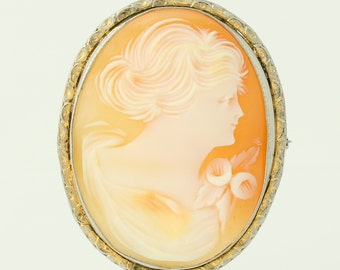 Vintage Carved Shell Cameo Brooch / Pendant - Gold Toned Convertible Pin Q5007