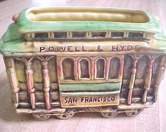 Vintage Souvenir San Francisco Trolley Car Planter, Green & Yellow Pottery Cable Car Memento, 504 Hyde and Beach, E F Clements Planter