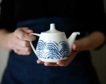For Anna - Tea for me/ Small teapot/ blue waves/ Petite théière