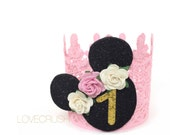 Birthday Mouse vintage pink + gold lace crown    headband    photo prop    customize ANY AGE
