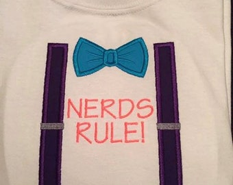 Nerds Rule! Bow Tie and Suspenders Embroidered Appliqued Tee
