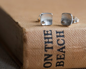 Small Silver Studs - Square Earrings - Squares and Pearls Earring Studs - Modern Jewellery Gift For Coworker