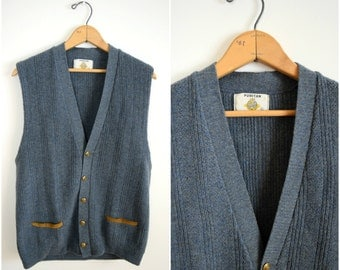 Vintage men's grey wool sweater vest /brass button down knit vest with brown leather accents