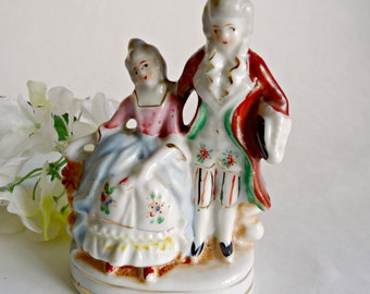 Occupied Japan Colonial Man and Woman Figurine Courting Couple Handpainted