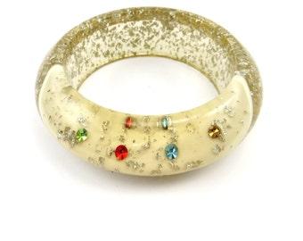 Confetti Lucite Bracelet Bangle Rhinestone Chunky Bangle Runway Glitter Plastic Statement Jewelry 1950s