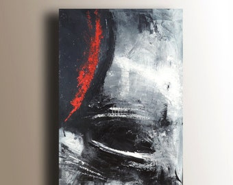 Textured Painting, Abstract Painting, Black White & Red Painting, Large Original Painting on Canvas, Palette Knife, 36x24, Heather Day