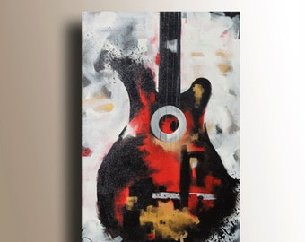 Guitar Painting Abstract Painting Red, White, Gold & Black Painting Large Original Painting on Canvas 36x24 by Heather Day