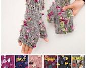 Knitted  fingerless gloves grey flowered  -  COLOR OPTION AVIABLE