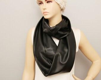 Infinity scarf genuine leather,Loop scarf ,woman scarf ,loop scarf leather