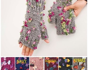 Knitted  fingerless gloves grey flowered & COLOR OPTION AVAILABLE