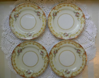 4 Antique Noritake China, LISMORE 98836, 4 Bread and Butter Plates, 1935
