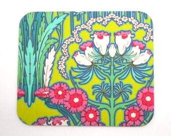 Mouse Pad - Fabric mousepad - Amy Butler Fabric Soul Blossoms Fuchsia Tree Chartreuse