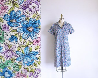 1960 Zipper Front Dress, Cotton Flower Print Blue Shift