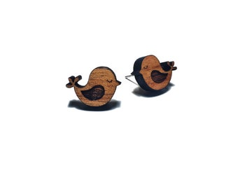 Wooden bird stud post earrings - Wooden 'Sleepy birds' - laser cut Tasmanian Blackwood - Hypoallergenic