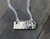 Silver & Gold Bar Necklace - Gift for Women - Hammered Minimalist Necklace - Sterling Silver Chain - Gold Filled Pendant - Burnish
