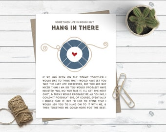 Funny Friendship Card Greeting Card Encouragement Stationery for Friend Thinking of You Nautical Preppy Titanic Hang in There Friend