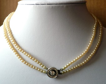 "Vintage Necklace Multi Strand Faux Pearl Rhinestone Clasp Hidden 16"" Choker 2 Strand"