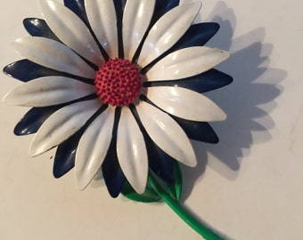 Enamel Flower Brooch Retro Vintage Lot 511