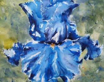 "Floral, flowers, macro, Iris, blue.All About Blue iris Original Watercolor Painting 20"" x 20""."