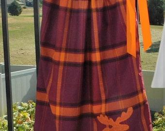 Stiking plaid dress, Pretty plum purple and pumpkin orange fall pillowcase dress, wild animal moose applique for baby, toddler, girl, tween