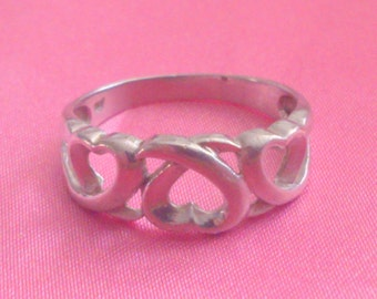 Vintage Silver Signed NF Interlinking Heart Band Style Ring
