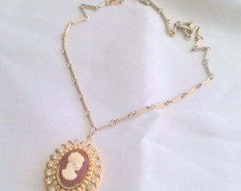 Vintage Rhinestone and Cameo Gold Tone Necklace