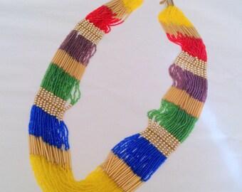 Vintage ALDO Long Multi Strand Multi Color Beaded Necklace
