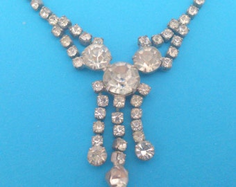 Vintage Prong Set Clear Rhinestone Necklace